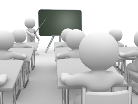 3d people - human character , person with pointer in hand close to blackboard  Concept of education and learning   3d render illustration  illustration