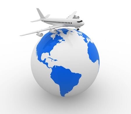 overseas: Conceptual airplane on Earth globe - 3d render
