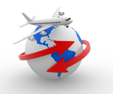 airline: Two arrows surrounding Earth globe and a airplane flying  3d render Stock Photo