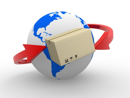 send parcel: Concept of delivering packages worldwide  Earth globe and arrows  3d render