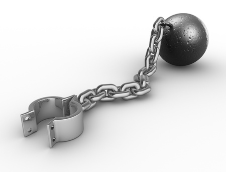 enslave: Iron ball with chain and shackle  3d render illustration