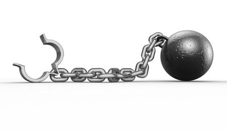 gefangener: Eisenkugel mit Kette und Schäkel 3d render