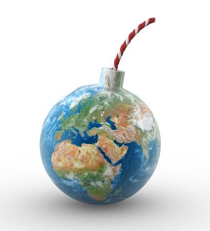 3d earth globe in shape of a bomb  3d render illustration  illustration
