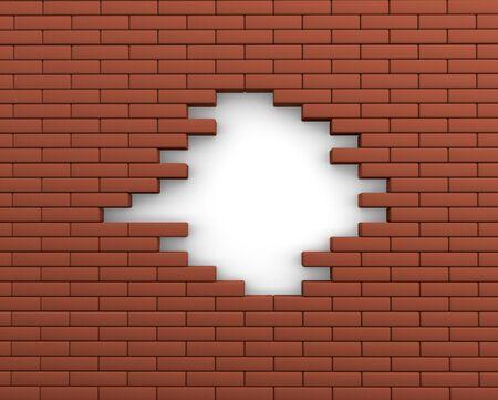 demolition: Hole in a brick wall  3d render illustration
