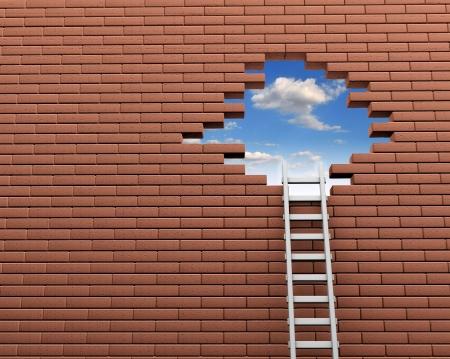 escaleras: Escalera a un agujero en la pared de ladrillo ilustraci�n 3d Foto de archivo