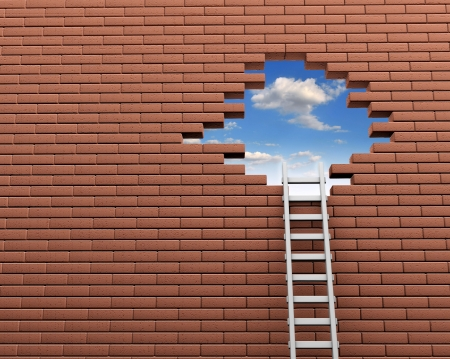 wall clouds: Ladder to a hole in brick wall  3d render illustration