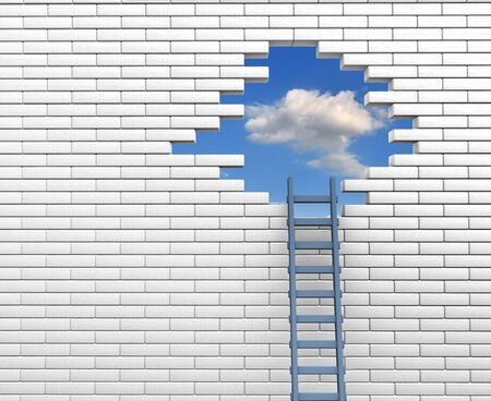 Ladder to a hole in brick wall  3d render illustration illustration