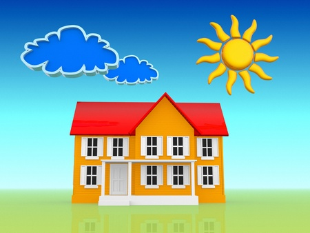 A house with sun and clouds-drawing cartoon   photo