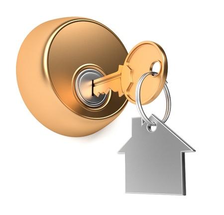 to lock: Chiave d'oro nel buco della serratura con l'illustrazione render 3d label Archivio Fotografico