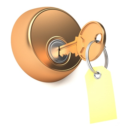 Golden key in keyhole with label  3d render illustration Stock Illustration - 14717583