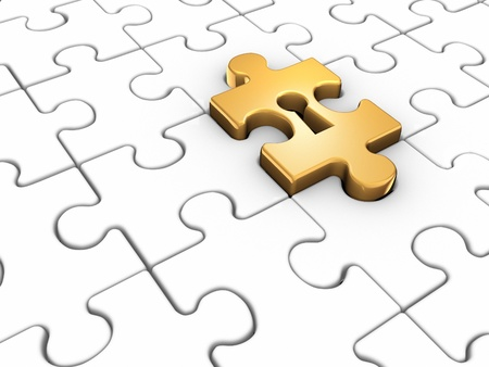 key hole: Jigsaw puzzle piece with keyhole  This is a 3d render illustration Stock Photo
