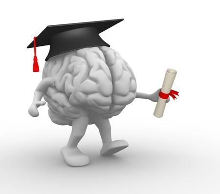 graduacion: Cerebro con gorra de graduaci�n y diploma ilustraci�n 3d Foto de archivo