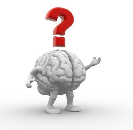 вопросительный знак: Мозг и вопросительный знак 3d визуализации иллюстрации Фото со стока
