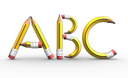 ABC  letters made from pencils  3d render illustration illustration