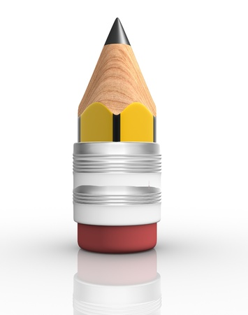 Pencil on white background  This is a 3d render illustration  illustration