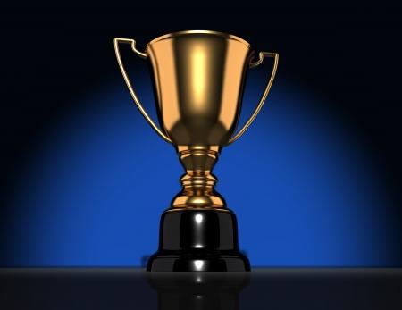 Golden champion cup-trophy  3d render illustration Stock Illustration - 14717421