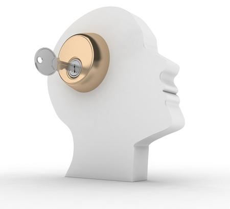 pensador: Cabeza con llave Ésta es una ilustración 3d