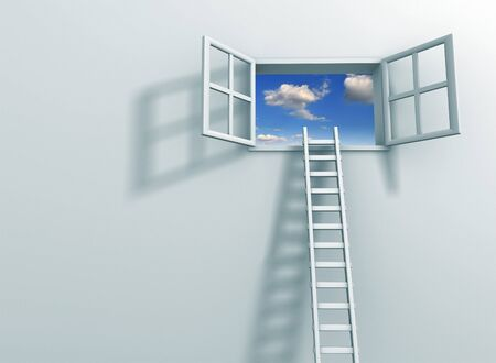 ascended: Ladder on an open Window 3d render illustration
