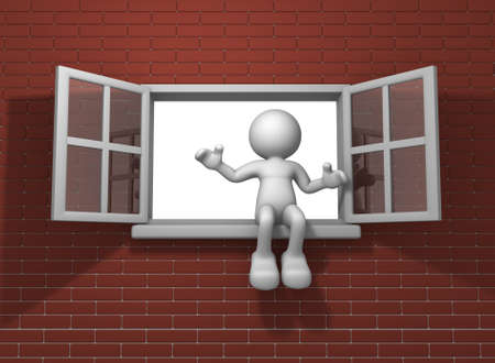 3d people - human character and  open window  3d render illustration illustration