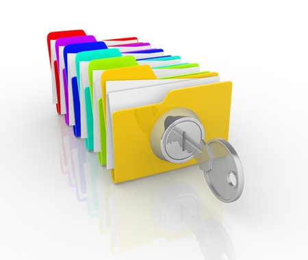 category: Key and the stack of folders This is a 3d render illustration Stock Photo