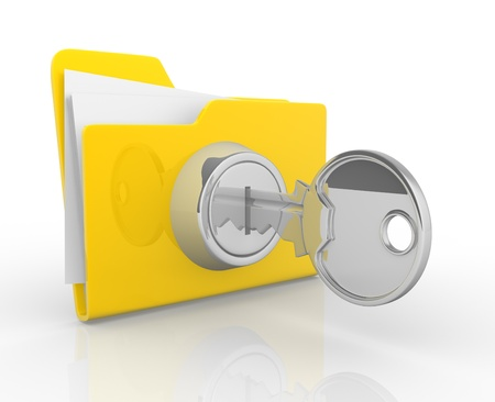 Key and yellow folder  This is a 3d render illustration illustration