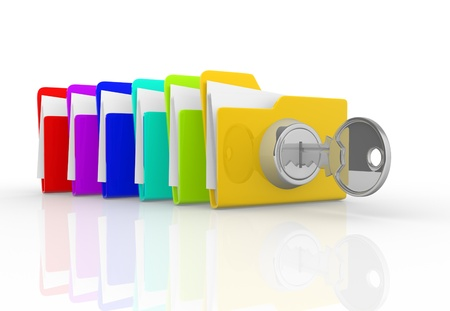 Key and the stack of folders  This is a 3d render illustration Stock Illustration - 14717385