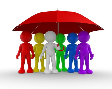 co operation: Group of people under the umbrella - This is a 3d render illustration