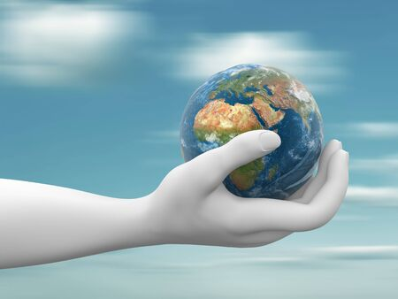 A hand holding a  earth globe  3d render illustration illustration