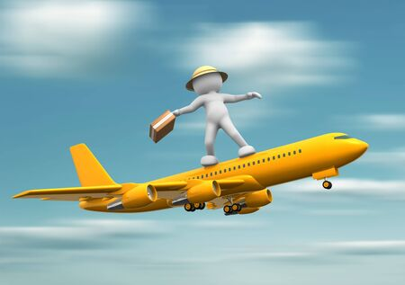 3d human: 3d people - human character standing over airplane flying  3d render illustration