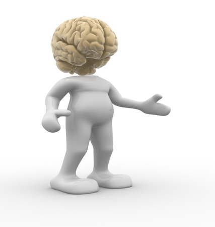 3d people - human character brain-shaped head  3d render illustration illustration