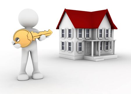3d people - human character with key in hand and a house  3d render illustration illustration