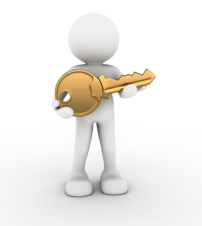 3d people - human character with a golden key in hand  3d render illustration Stock Illustration - 14717224