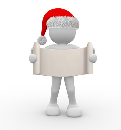 christmas carols: 3d people - human character Santa Claus with a blank sign  3d render illustration Stock Photo