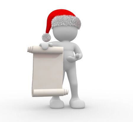 carols: 3d people - human character Santa Claus with a blank sign  3d render illustration Stock Photo