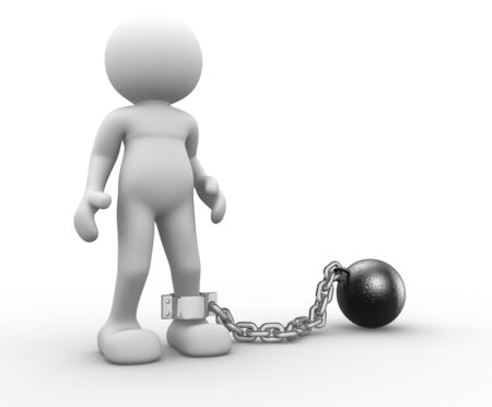 3d people - human character with ball chain- prisoner  3d render illustration