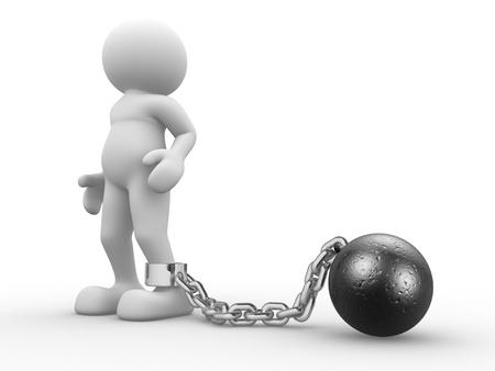 pelota caricatura: Gente 3d - car�cter humano con la bola cadena prisionero ilustraci�n 3d