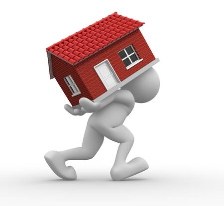 realization: 3d people -human character carrying a home  3d render illustration