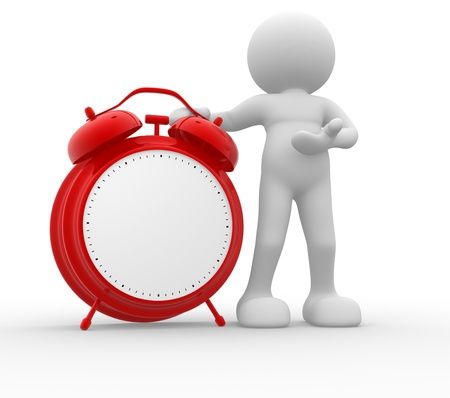 despertador: La gente 3d - car�cter humano y de un rojo de alarma de reloj cl�sico ilustraci�n 3d