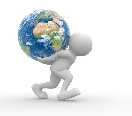 ed: ed people - human character and earth globe  3d render illustration