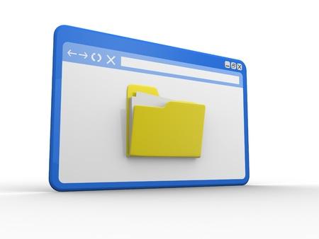 importantly: Browser  window and folder  3d render illustration