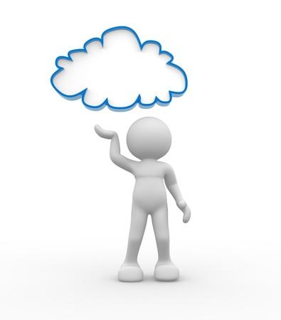 bonhomme blanc: Personnes-humaine 3d personnage avec des nuages ??sur l'illustration de rendu 3d tête