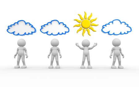3d people- human character with sun and cloud over the head  3d render illustration illustration