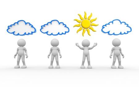 3d persone umano personaggio con sole e nuvole sopra la testa 3d rendere l'illustrazione Archivio Fotografico