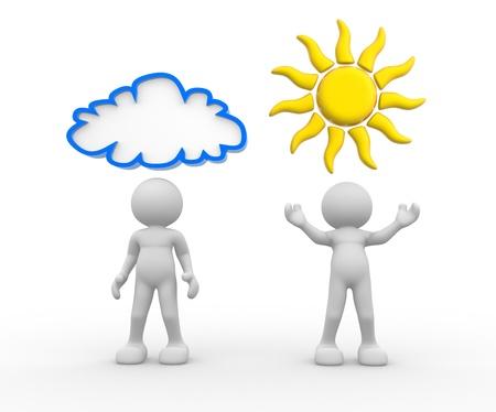 3d les gens humain caractère avec le soleil et des nuages ??sur l'illustration de rendu 3d tête
