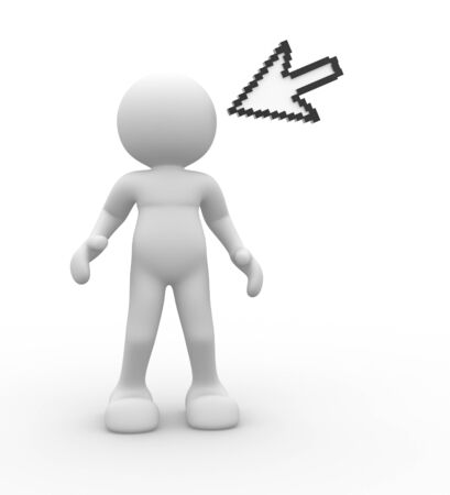 dragging: 3d people- human character with cursor over the head  3d render illustration Stock Photo