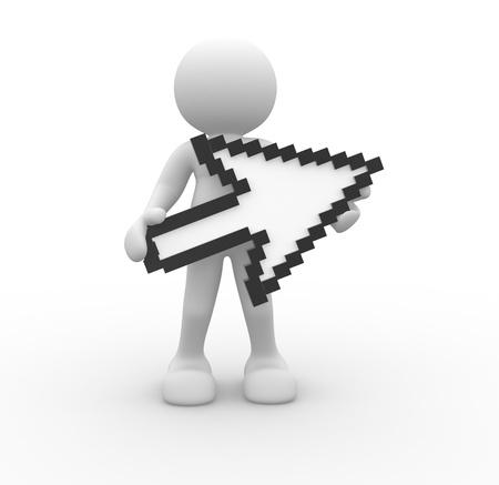 3d people- human character with cursor  3d render illustration illustration