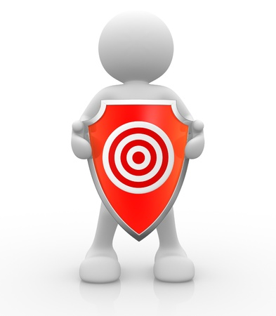 panoply: 3d people - human character with shield and target  3d render illustration  Stock Photo
