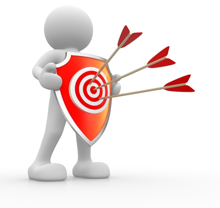 archer cartoon: 3d people - human character with target-shaped shield and arrows stuck  3d render illustration