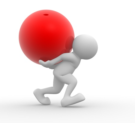 3d ball: 3d people - human character carrying back a red sphere  3d render illustration Stock Photo