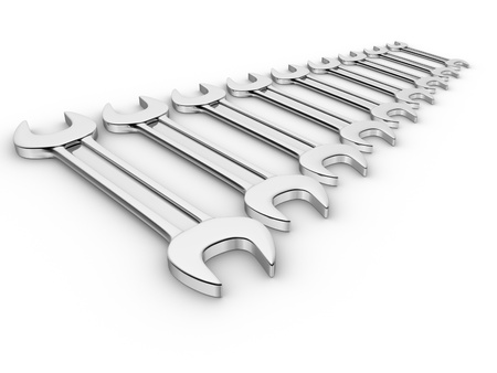 forkwrench: Stainless steel wrench - This is a 3d render illustration Stock Photo